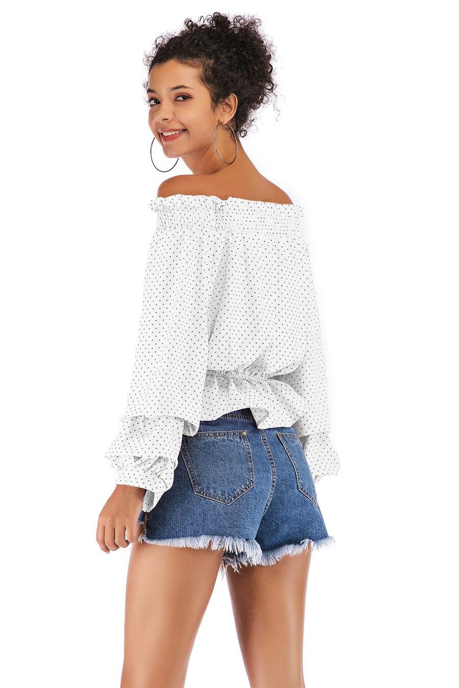 Gladiolus Chiffon Blouse Women 2019 Spring Autumn Long Sleeve Polka Dot Off Shoulder Sexy Blouses Women Shirts Ruffles Blusas (24)