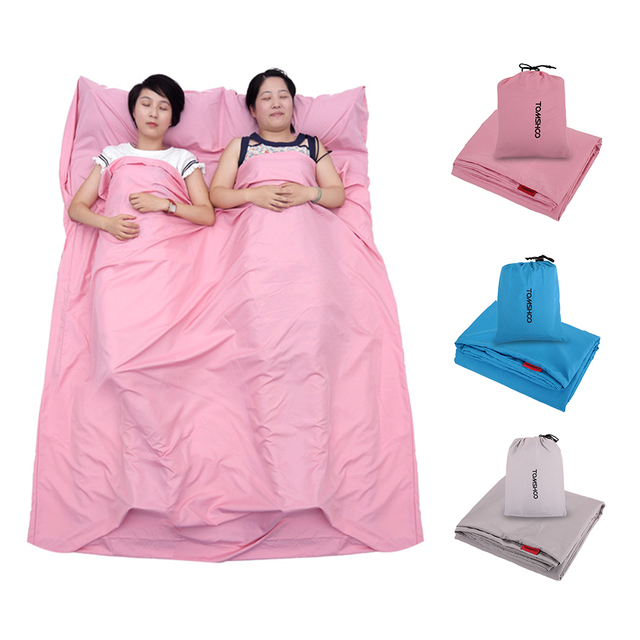 Tomshoo Double Sleeping Bag Outdoor Liner Polyester Pongee Portable Camping Travel Healthy