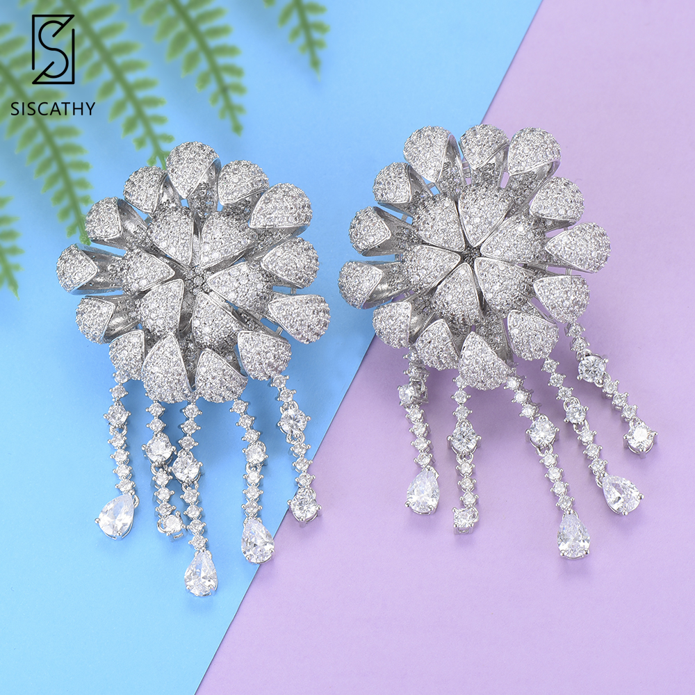 SISCATHY Luxury Flower Blossom Tassel Shape Dangle Earrings For Dubai Women Cubic Zirconia Inlaid Drop Earrings boucle d'oreille цена