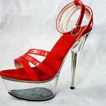 Sexy footwear membership 15 cm/high-heeled sandals enchantment/crystal efficiency ladies's footwear