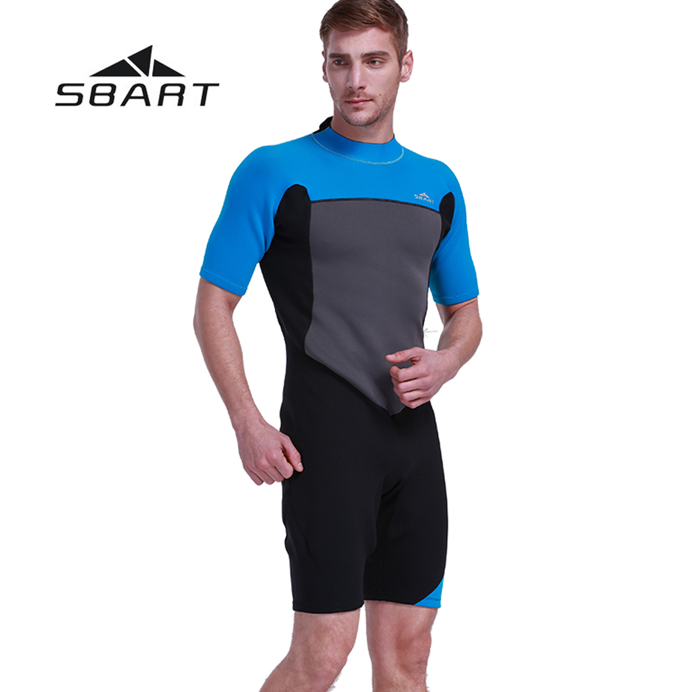 SBART 2mm Neoprene Men Diving One-Piece Suit Kite Surfing Shorty Wetsuit Swimming Snorkeling Windsurfing Swimwear Jumpsuit professional surfing swimwear mens one piece diving swimsuit lycra front zip crew uv snorkeling swimming surfing suit wetsuit