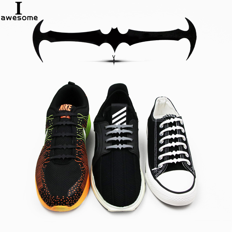 16Pcs set Lazy No Tie Bat Shoelaces for Men Women Leather Shoes 3 Colors Elastic Silicone Shoe lace Suitable High Quality in Shoelaces from Shoes
