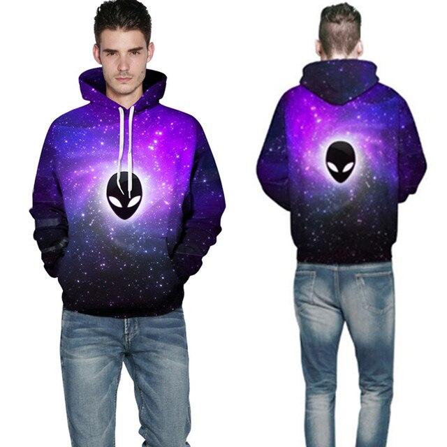 7600e333d8c9 Mens 3D Alien Galaxy Print Fashion Hoodies Sweatshirts For Men Long Sleeve  Pocket Pullovers Hooded Sweatshirt Tops Plus Size