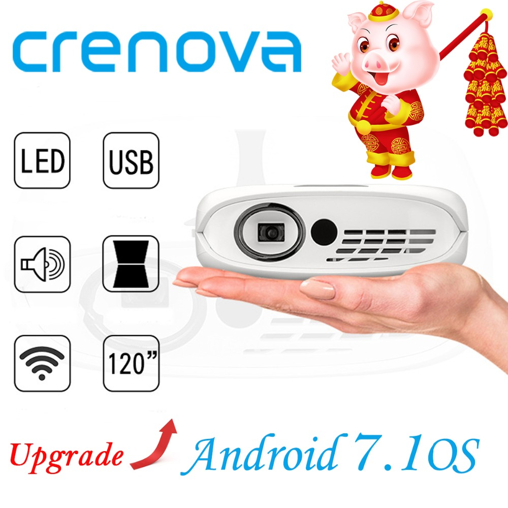 CRENOVA DLP Projector For Full HD 1080P With WIFI Android 7.1 OS Home Theater Movie Portable LED Projector With Battery Beamer-in LCD Projectors from Consumer Electronics    1