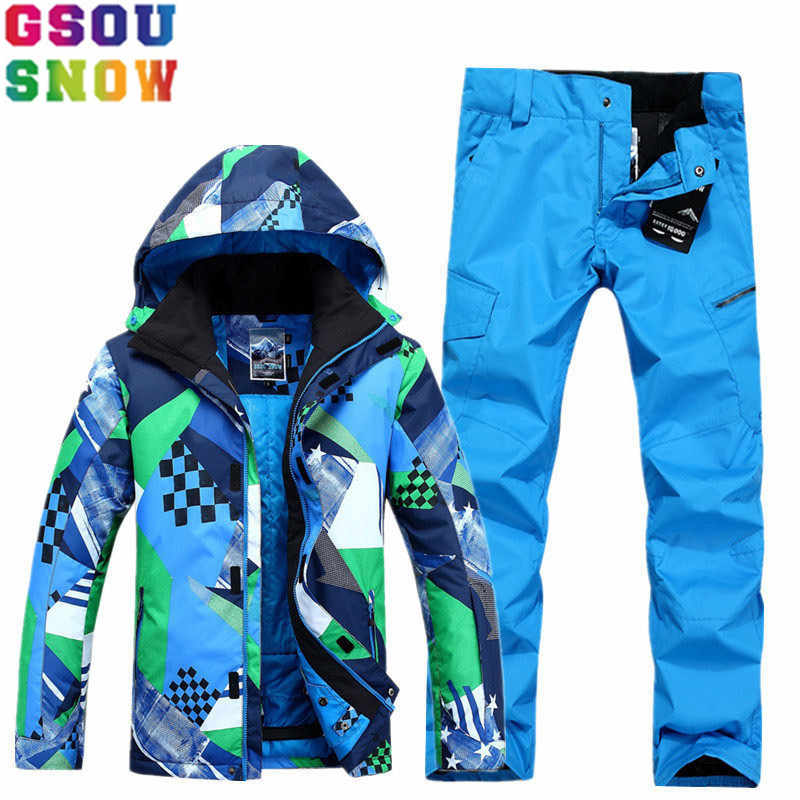 56e6f45e46 GSOU SNOW Brand Ski Suit Men Ski Jacket Snowboard Pants Sets Winter  Mountain Skiing Suits Outdoor