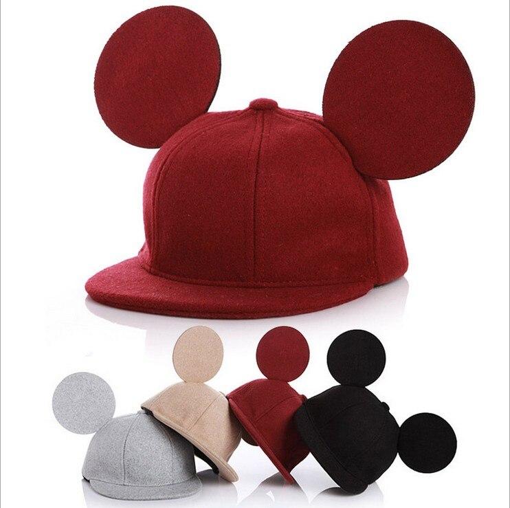 Prix pour Enfants Mignon Mickey Oreilles rouge laine chapeau et canard langue Chevalier équestre Enfants cavalier chapeau Casquettes de Baseball livraison gratuite