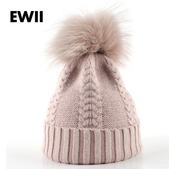 2017 Winter cap woman beanie caps girl knitted cotton hats for women beanies gorro ladies warm bonnet femme fur hat bone
