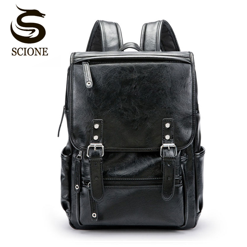 Hot Brand PU Leather Mens Laptop Backpack Casual Daypacks For College High Capacity Trendy School Backpack Men Travel Bag цена