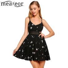 Meaneor Fashion Summer Dress Patchwork Spaghetti Strap V-Neck Sleeveless Print Women Dresses Striped Mini Party Vestidos