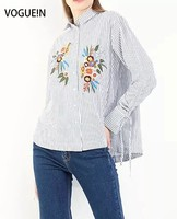 VOGUE N New Womens Floral Embroidered Striped Print Long Sleeve Blouse Tops Shirt Wholesale Size SML