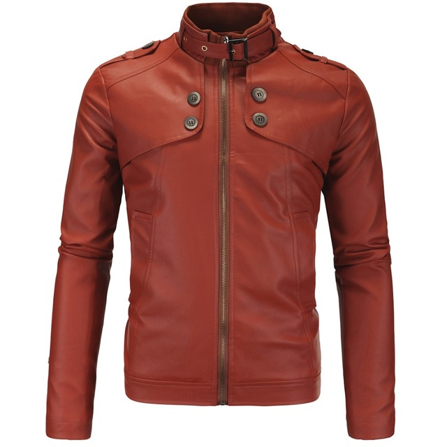 2016 New brown leather jacket mens shirt collar men's motorcycle leather overcoat