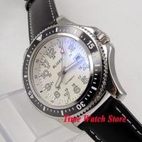 44mm BLIGER Automatic men's watch white dial luminous ceramic bezel polished SS case leather strap wrist watch men 142