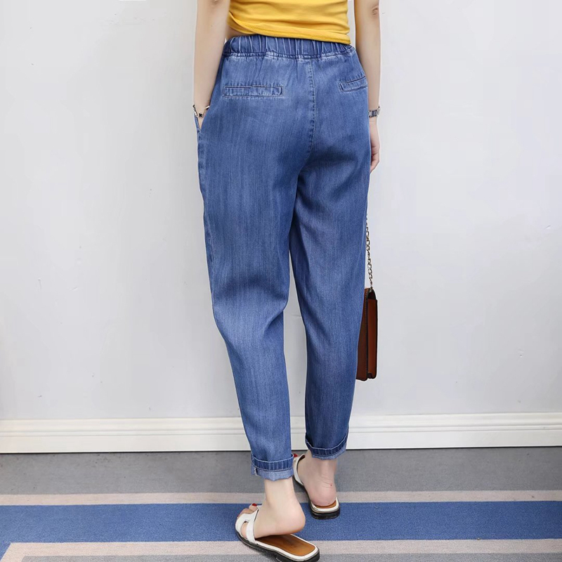 Summer Autumn Jeans Boyfriends Denim Pants School Style Thin Elastic Waist Jeans Loose Haren Jeans For Women