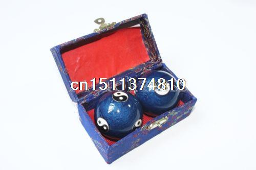 Musical Chinese Exercise Health Balls - Stress Baoding Balls Blue kifit newest chinese health daily exercise stress relief handball baoding balls relaxation therapy ying yang blue massage tool