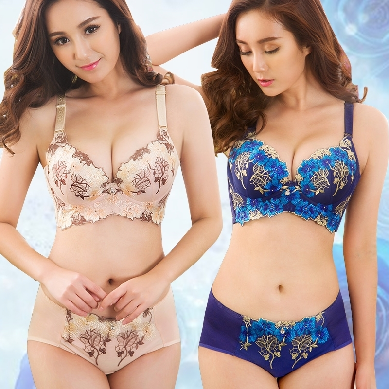 Slimgirl Comfortable Women's Sexy   Bra     Set   Floral Embroidery Push Up Underwire One-piece 3/4 Cup   Bra   &   Brief     Sets   Girl intimates