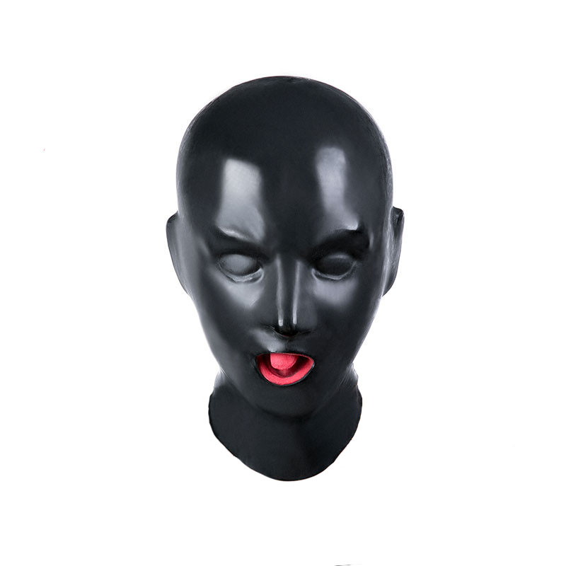 Latex Bondage Hood Sex Mask Fetish Toys Bdsm Bondage With Open Mouth Gag Adult sex toy hood mask fetish mask hood sexy toys open mouth eye bondage hood party mask cosplay slave headgear mask adult game sex products 4 style