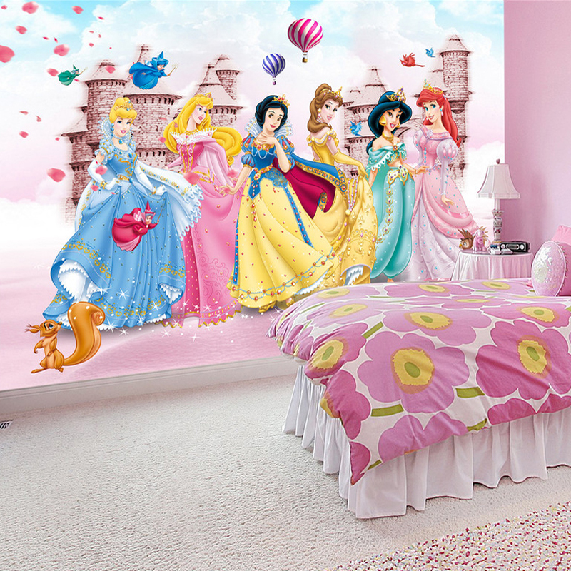 Customized 3D Photo Mural Cartoon Castle Princess Mural Wallpaper For Baby  Girls Kidu0027s Bedroom Wall Decor
