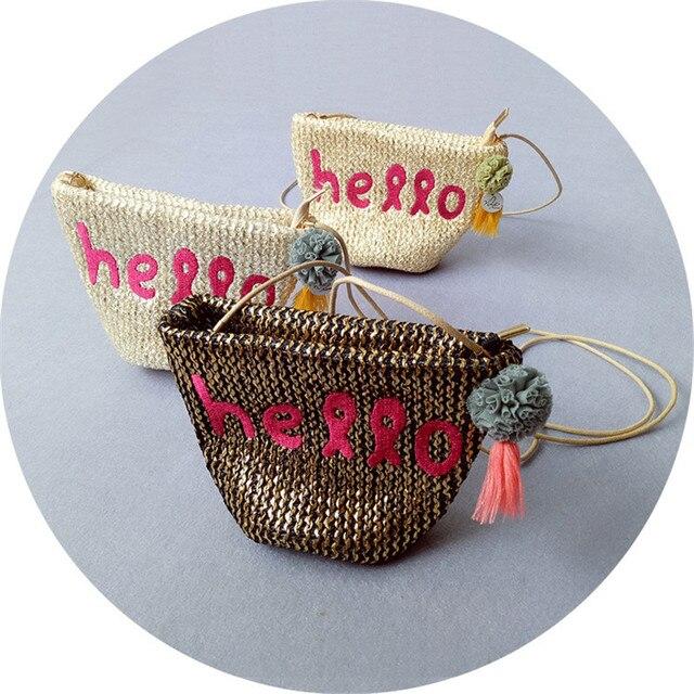 JC Kids Baby Girls Hello Letter Rattan Woven Bag Hand-Woven Kids Message Bag Summer Style Kids Kawawii Bag Girls Coin Purse