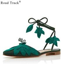1d00dc67b Road Track Green leaves Cross Straps Sandals Women Fashion Appliques Flat  Beach Shoes Summer Lace-