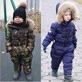Детский пуховик с капюшоном из натурального меха  теплые зимние комбинезоны для мальчиков и девочек  детская одежда для От 3 до 8 лет