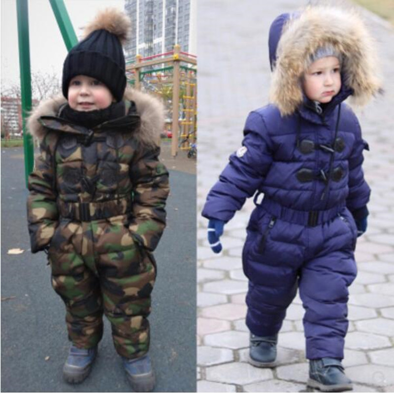 Children Down Rompers With Real Fur Hood Warm Boys Girls Winter Jumpsuits Kids Conjuncted Climb Clothes For 3-8 YearsChildren Down Rompers With Real Fur Hood Warm Boys Girls Winter Jumpsuits Kids Conjuncted Climb Clothes For 3-8 Years