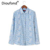 Dioufond Denim Shirts Women Blouses Pesley Print Thin Cotton Blouse Long Sleeve Slim Tops Blusas Camisa