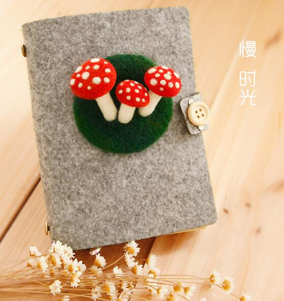 Notebook Wool Felting Needlepoint Kit Mushroom Felt Craft Supply