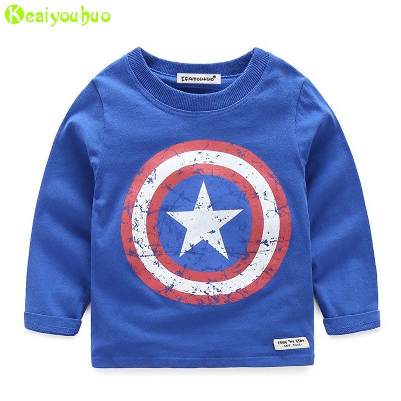 KEAIYOUHUO Captain America Kids Boys T shirt 2017 Spring