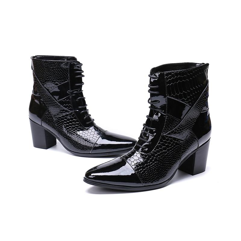 Chaussures hommes 7 CM talons hauts botas hombre chaussures d'hiver hommes noir véritable cuir combat chelsea bottes acier orteil chaussures militaires-in Bottes chelsea from Chaussures    1
