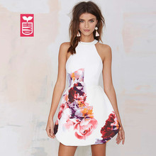 High Quality Colorful Big Flowers 2017 Female Fashion Sexy Halter Neck A Line Dresses OL Noble Party Dance Dress Summer