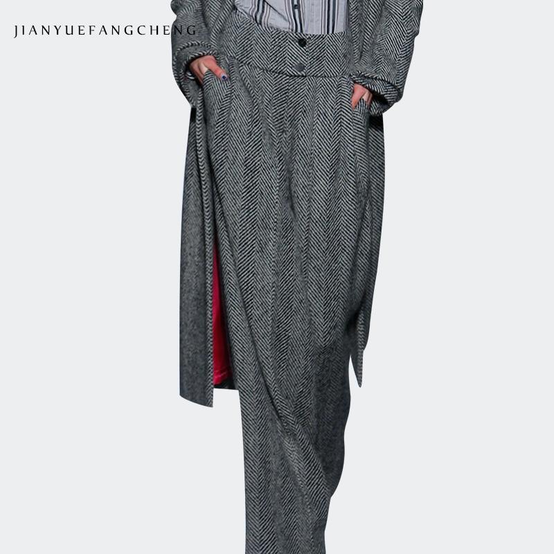 2018 Fashionable Womens Winter Wide Leg Wool Pants High Waist Plus Size Striped Trousers Female Warm Loose-Fitting Bottoms