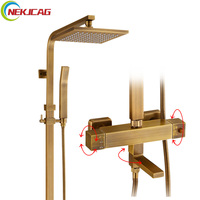 Classical Style Thermostatic Shower Faucet Bath Mixer Tap With Hand Shower Faucet Square Tube Shower Set
