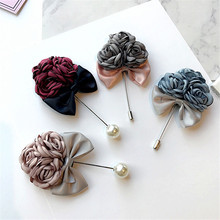 Korea New Handmade Modern Flower Fabric Rhinestone Brooches Pins Badges Fashion Jewelry For Woman Accessories-YHGWBH012F