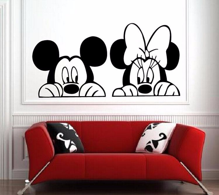 Cartoon mickey and minnie mouse wall art cute animal vinyl for Baby mural stickers