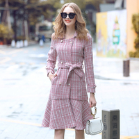 Ladies Women Dresses Woman Dress New 2018 Fashion Runway Designer elegant double breasted tweed fishtail Office Lady Work dress