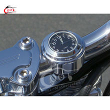 Chrome Black Dial Clock 7/8″ 1″ Motorcycle Handlebar For Yamaha Road Star V-Star