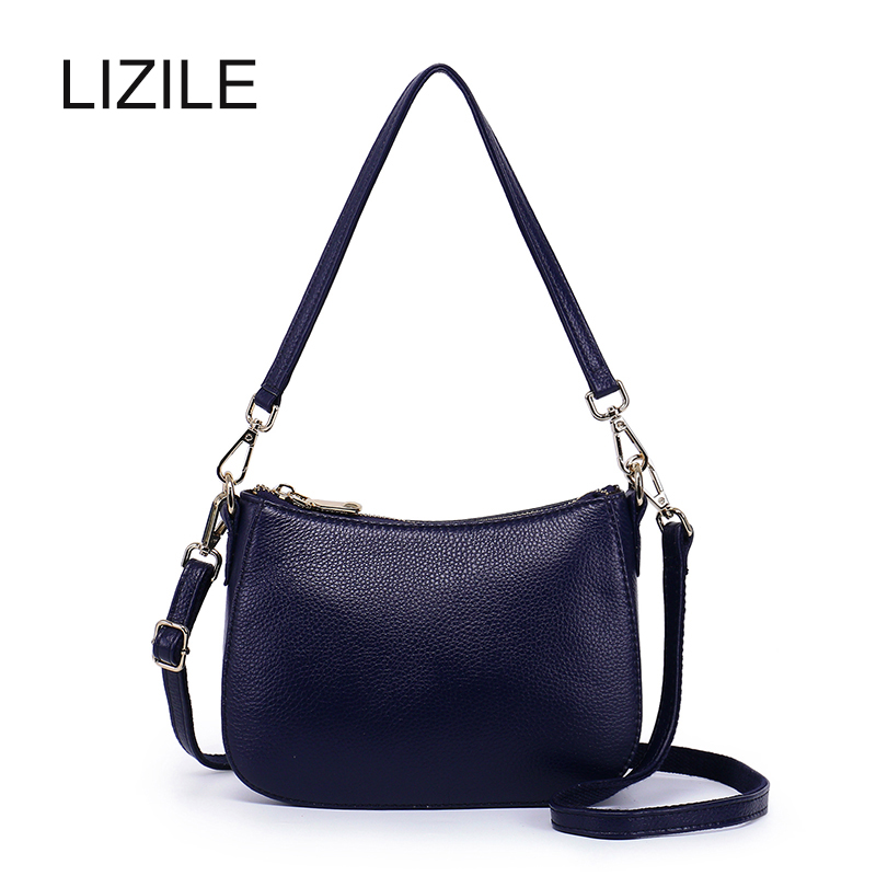 Genuine Leather Women's handbag 2017 autumn and winter soft first layer of cowhide Shoulder Bag Messenger Bag small bag mini Bag famous brands first layer of leather woman bag autumn and winter fashion shoulder bag casual mobile messenger bag