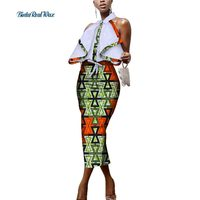 Custom African Wax Patchwork Print Dresses for Women Bazin Riche Sexy Straight Dress Traditional African Design Clothing WY3421