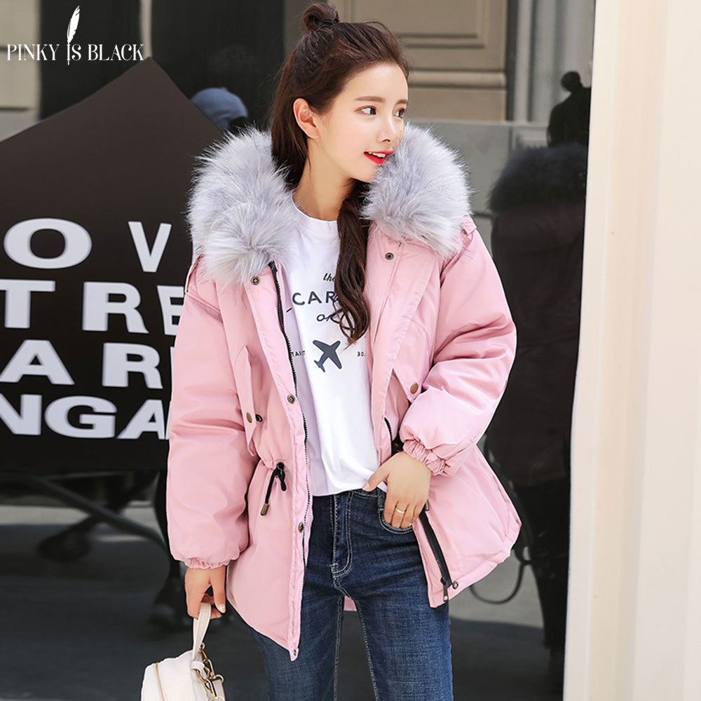 Pinky Is Black Faux fur collar short parkas down cotton jacket Winter Jacket Women thick Snow Wear Coat Lady Clothing Female