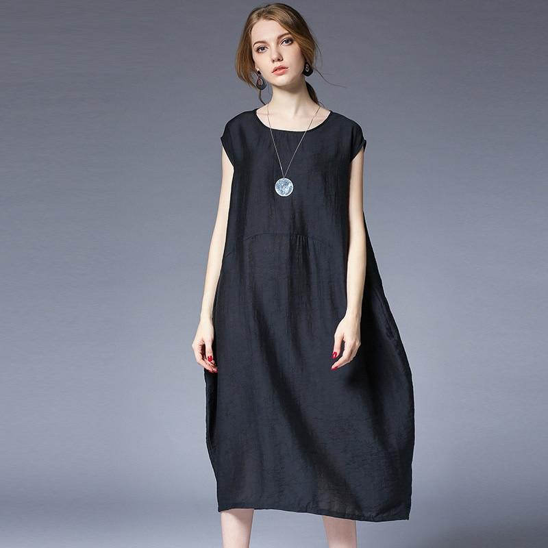 062d8d62a87 Large size ladies  loose silhouette sleeveless Tank plus size dresses high  waist crew neck summer new Elegant dress oversize