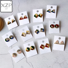 XZP Japan Korea Colorful Splice Acrylic Acetic Acid Hollow Square Geometric Round Triangle Acetate Stud Earrings for Women Girl