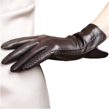 Fashion Women Genuine Leather Gloves Winter 2015 Five Finger Sheepskin Outdoor Driving 085