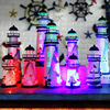 LED Iron Tower Candle Holder Mediterranean-style Lighthouse Wrought Holiday Candlestick Home with light Wedding Party Decor 2
