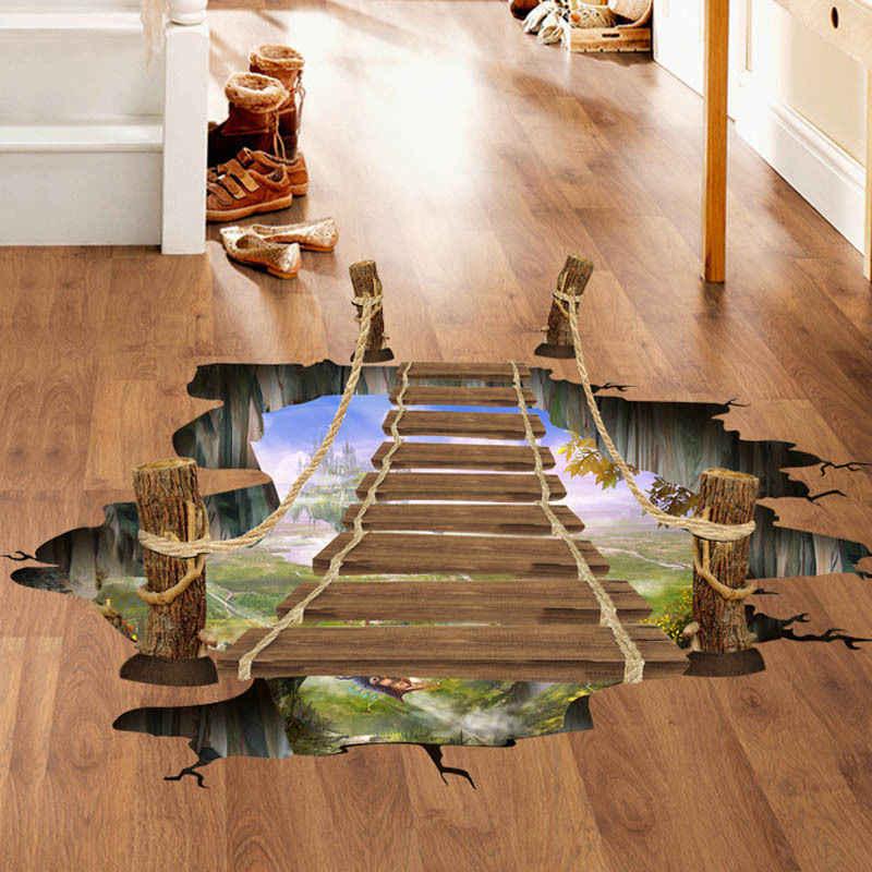 2018 ใหม่ล่าสุด 3D แขวนสะพานไม้ผนังสติ๊กเกอร์สติ๊กเกอร์ศิลปะบ้านห้องตกแต่งไวนิล