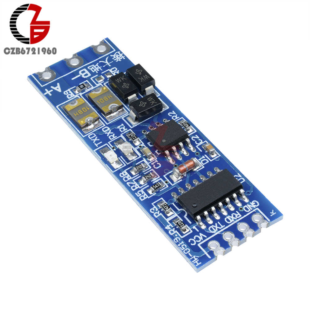 DC 3.3V 5V RS485 to TTL Converter Module Stable UART Serial Port Anti Interference Thunder RXD TXD Signal Indicator for Outdoor