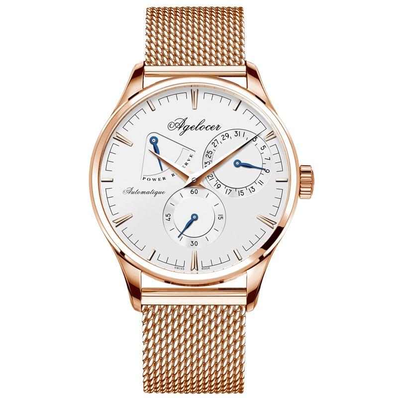 AGELOCER hommes montre de luxe marque militaire automatique montres hommes d'affaires montre-bracelet en acier inoxydable mâle horloge Sport boîte-cadeau