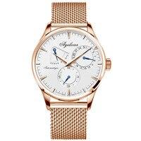 Agelocer homens relógio de luxo marca militar relógios automáticos do negócio dos homens relógio de pulso de aço inoxidável masculino caixa de presente do esporte