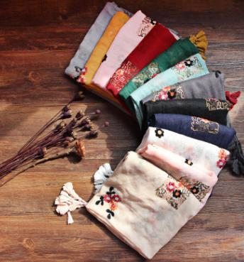 2017 New Fashion Flower Embroidery Print Tassel Scarf Shawls Women Cotton Vintage Floral Wrap Hijab Muffler 10pcs/LOT