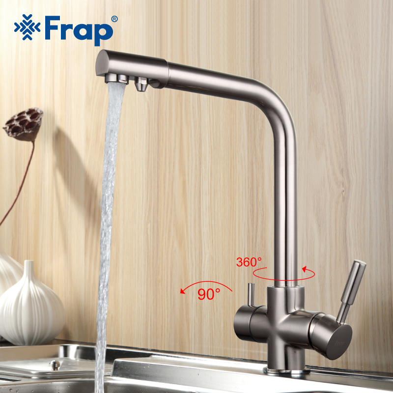 Frap Nickel Brushed Kitchen Faucet Seven Letter Design 360 Degree Rotation Water Purification Features Double Handle