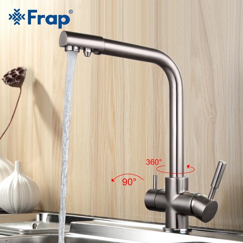 Frap Níquel Escovado Torneira Da Cozinha Sete Carta Projeto 360 Graus de Rotação Características de Purificação de Água Dupla Alça F4352 5